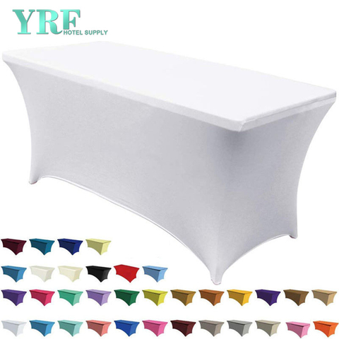 "Oblong Stretch Spandex Table Cover White 6ft/72""L x 30""W x 30""H Polyester For Hotel"