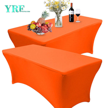 Rectangular Fitted Spandex Tablecloth Orange 4ft Pure Polyester Wrinkle Free for Party