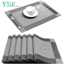 Banquet Rectangular Vinyl Washable Stain Resistant Silver Grey Placemats