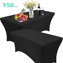 Oblong Fitted Spandex Tablecloths Black 6ft Pure Polyester Wrinkle Free For Folding Tables