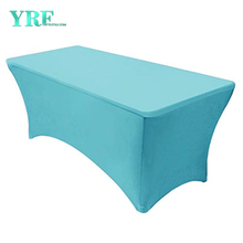 Oblong Fitted Spandex Tablecloth Turquoise 4ft Pure Polyester Wrinkle Free For Folding Tables