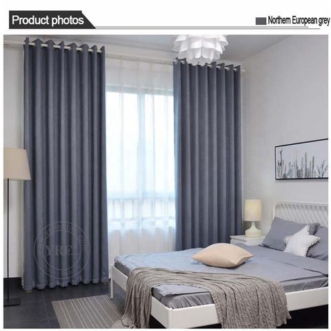 College Dorm Plain Color Black Out Flame Retardant Bedroom Curtain