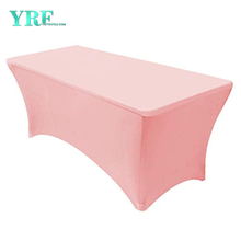Rectangular Fitted Spandex Table Covers Pink 8ft Pure Polyester Wrinkle Free For Folding Tables