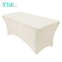 Rectangular Fitted Spandex Table Cover Ivory 6ft Pure Polyester Wrinkle Free for Party
