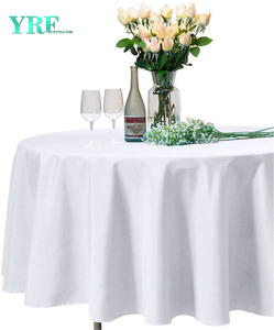 "Round Table Cloth White 132"" Inch Solid 100% Polyester Wrinkle Free For Hotel"