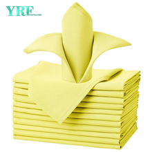 "Napkins Cloth Pure Yellow 17x17"" Inch Pure 100% Polyester Washable and Reusable For Hotel"