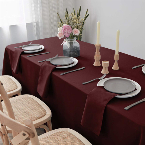 Rectangle Table Cloths Wine red 90x132 inch Pure 100% Polyester Wrinkle Free for Weddings