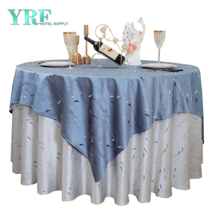 "YRF Table Cloth 5 Star Hotel Wedding 132"" Blue gray Polyester Round"