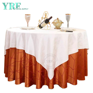 "YRF Round Table Cloths 70"" Inch Orange Polyester Washable Wrinkle Free For Restaurant"