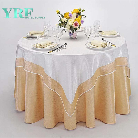 YRF China Factory Apartment Round Table Cloth Light Yellow Plain Dyed