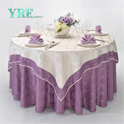 YRF Factory Sale 5 Star Hotel Round Table Cloth Violet Plain Dyed