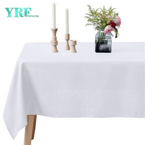 Oblong Table Cloth Pure White 60x102 inch 100% Polyester Wrinkle Free For Hotel