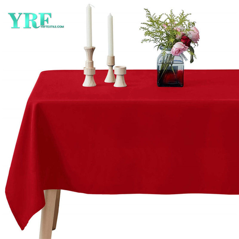 Rectangle Dinner Table Cover Pure Red 90x132 inch 100% Polyester Wrinkle Free for Restaurant
