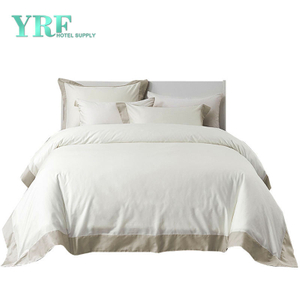 100 Cotton 4PCS Five Star King Size Comfy Green And White Hotel Bedding
