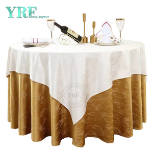 "YRF Round Tablecloth 108"" Inch Brown Polyester Washable Wrinkle Free For Wedding"