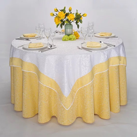 YRF Factory Supply Hotel Round Table Cloth Yellow Plain Dyed