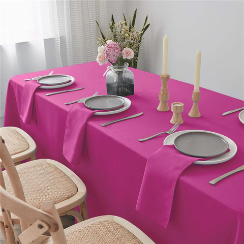 Rectangle Table Cloth Pure Fuchsia 90x132 inch 100% Polyester Wrinkle Free for Hotel