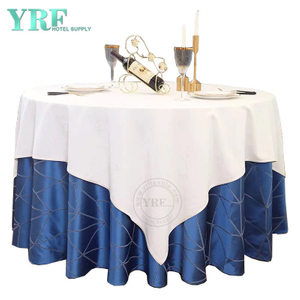"YRF Round Tablecloth 90"" Inch Blue Polyester Washable Wrinkle Free For Hotel"