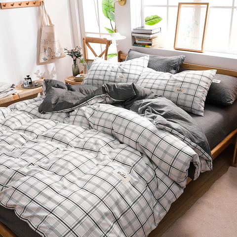 Hot Sale Condo Plaid High Quality Cotton Fabric Bed Sheet