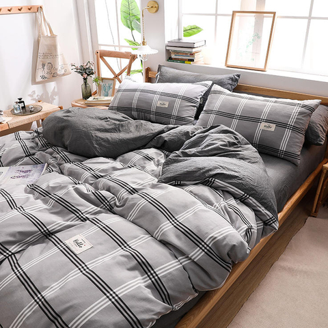 Wholesale 3 PCS Double Bed New Product Cotton Bedding Gingham