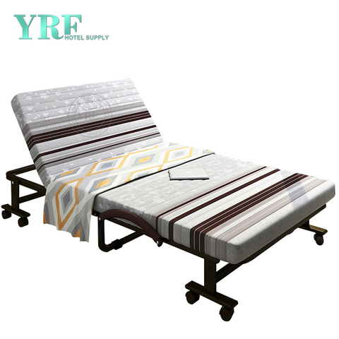 Spare Bedroom Folding Bed Spare Rollaway With Thick Foam Mattress Brown striped Twin Size