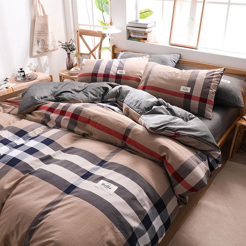 Motel Luxury Sandy Brown Gingham Modern Design Cotton Bed Sheets