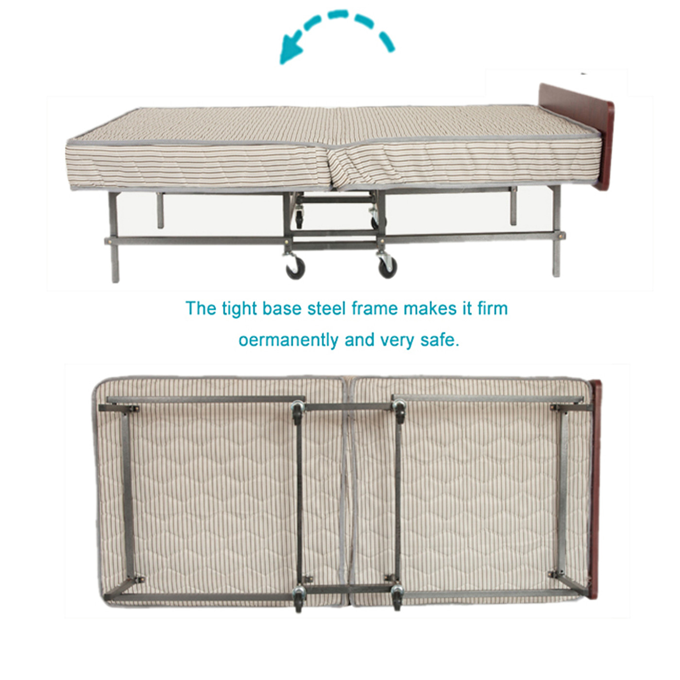 Motel Folding Bed Extra Portable Foam Mattress Super Strong Frame Twin Size