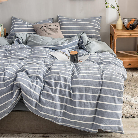Made In China 3 PCS Double Bed Cotton Bedding Striped