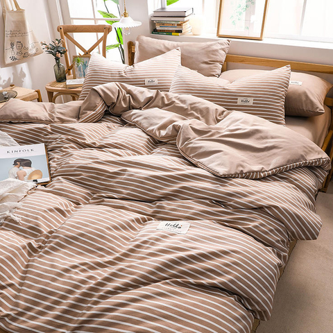 Hypoallergenic Fashion Style Sandy Brown Striped Cotton Fabric Bed Sheets