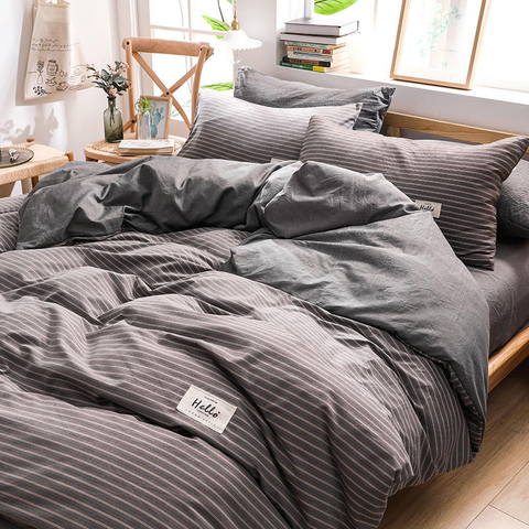 High Quality Home Bedding Coffee Stripe Smooth Cotton Bed Sheet